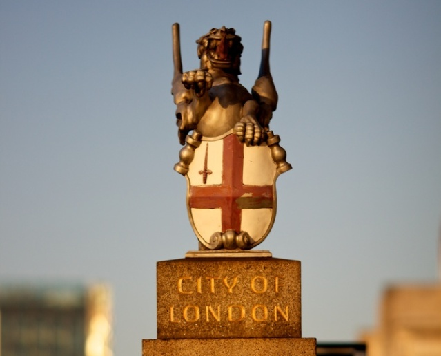 A dragon stands guard at the Southwark end of London Bridge,